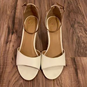 Shoes - White wedge shoes with brown ankle strap sz9